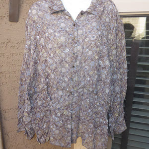 NWT J.JILL Brown & Gray Blouse L/S Size 3X